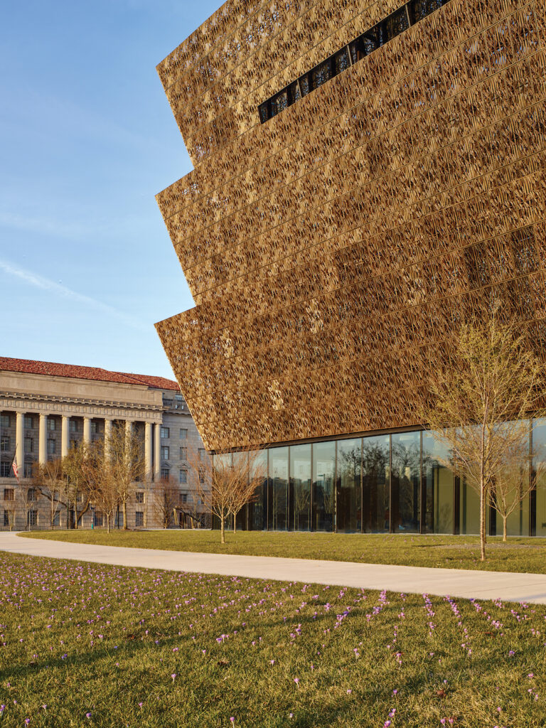 Exterior corona of the Adjaye Associates designed African American History and Culture Museum