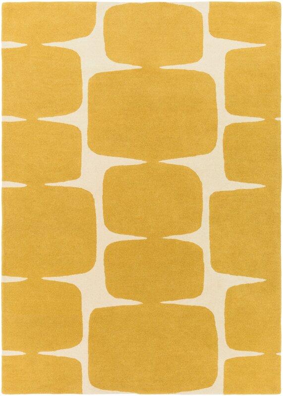 Bold yellow geometric rug