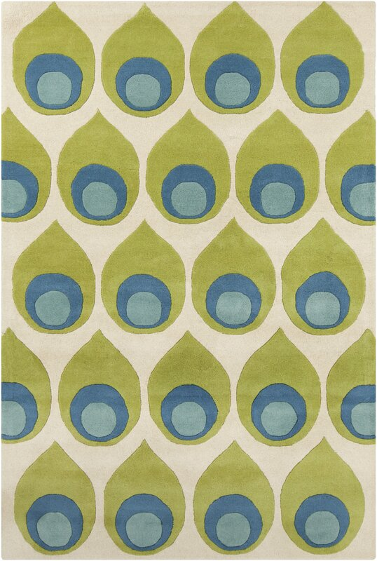 Lime green and blue colorful rug
