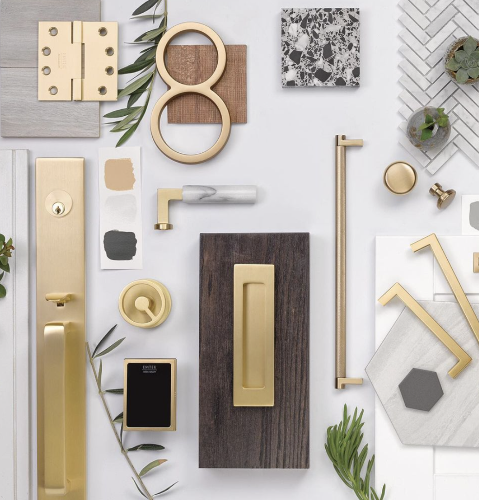 Collection of mid mod hardware in brass, marble and wood
