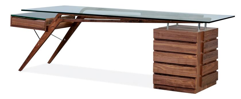 walnut MCM desk with glass top