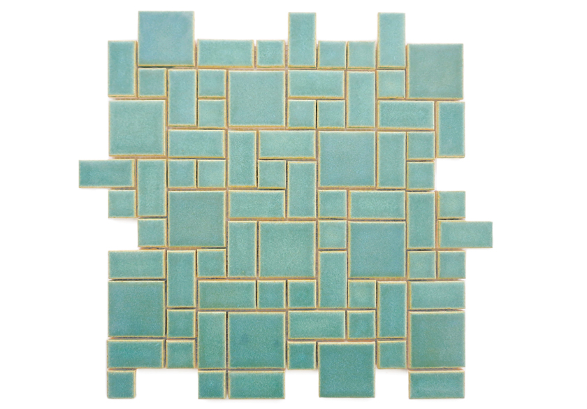 teal craftsman tiles in small square pattern