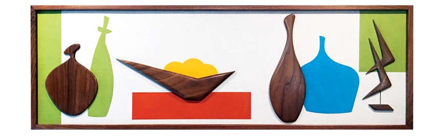 Midcentury wood wall art with color blocks