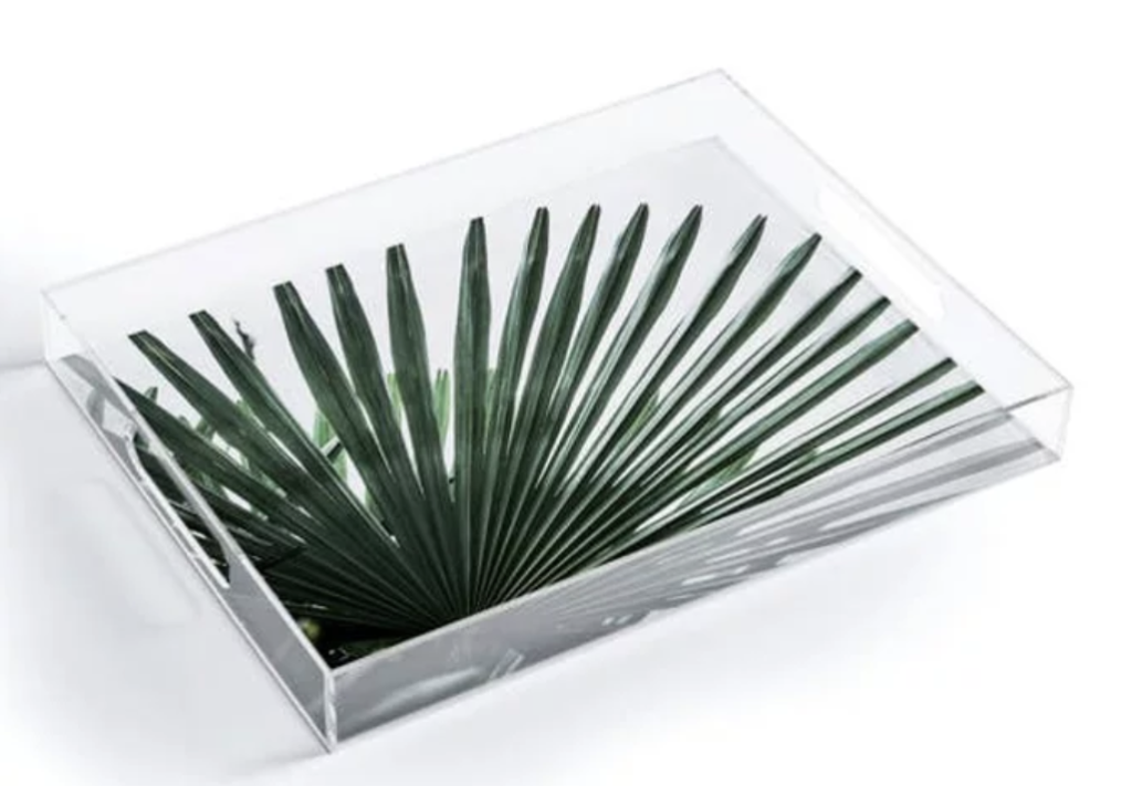 Clear tray with palm base.