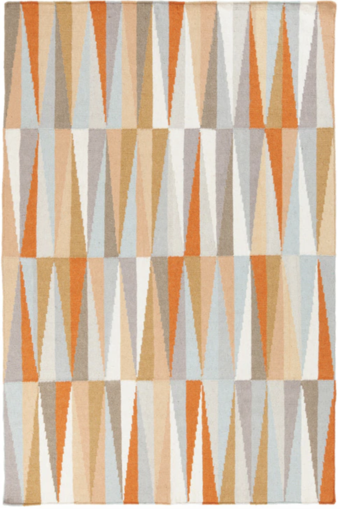 Orange, blue, gray and white triangle pattern mid mod rug