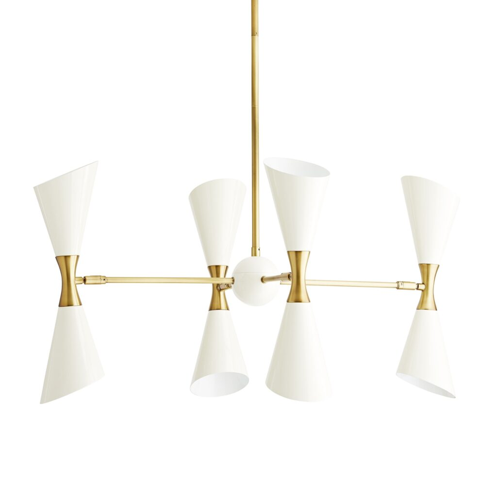 Brass and white MCM chandelier with angular hourglass shades. MCM-inspired decor from Black-owned businesses