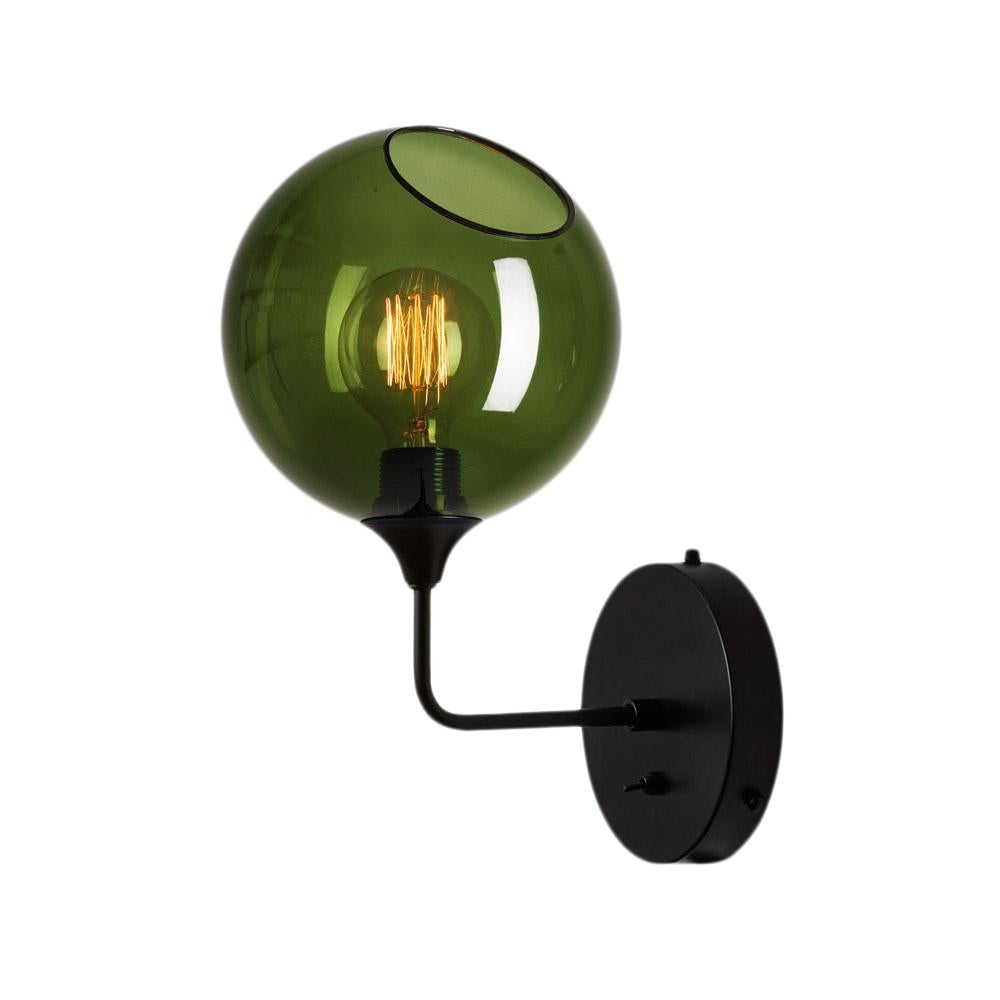 Green glass bulb short wall sconce