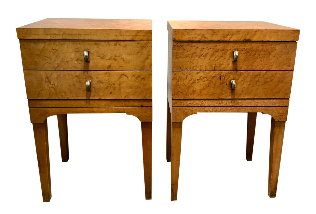 Mid Century Tiger Maple Night Stands - a Pair available from Embellish Antiques.