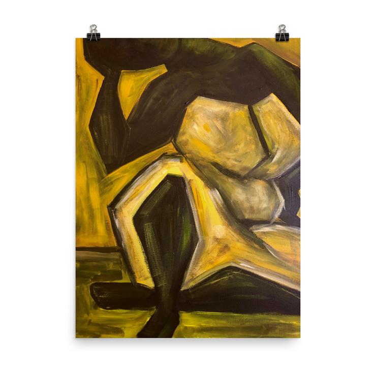 Art piece of Black woman in yellow dress with an abstract quality. MCM-inspired decor from Black-owned businesses