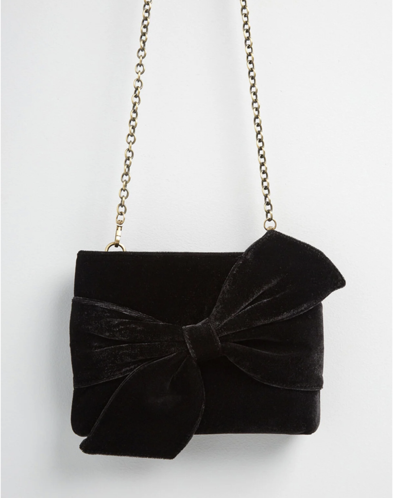 Vintage-style black purse with bow