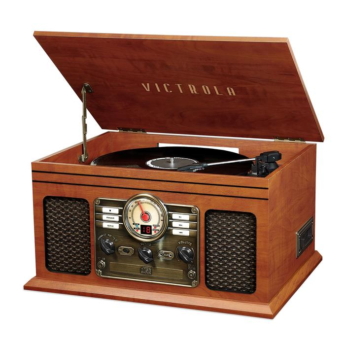Victrola wood record player