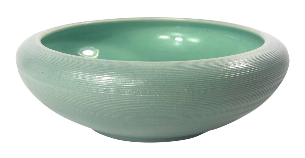 Vintage Mid-Century Sea Foam Green Red Wing Pottery Bowl available from The Dark Dish.