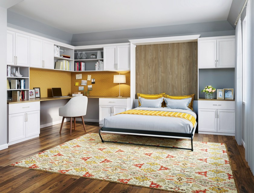 MCM bedroom and office with yellow backsplash and an orange and yellow rug