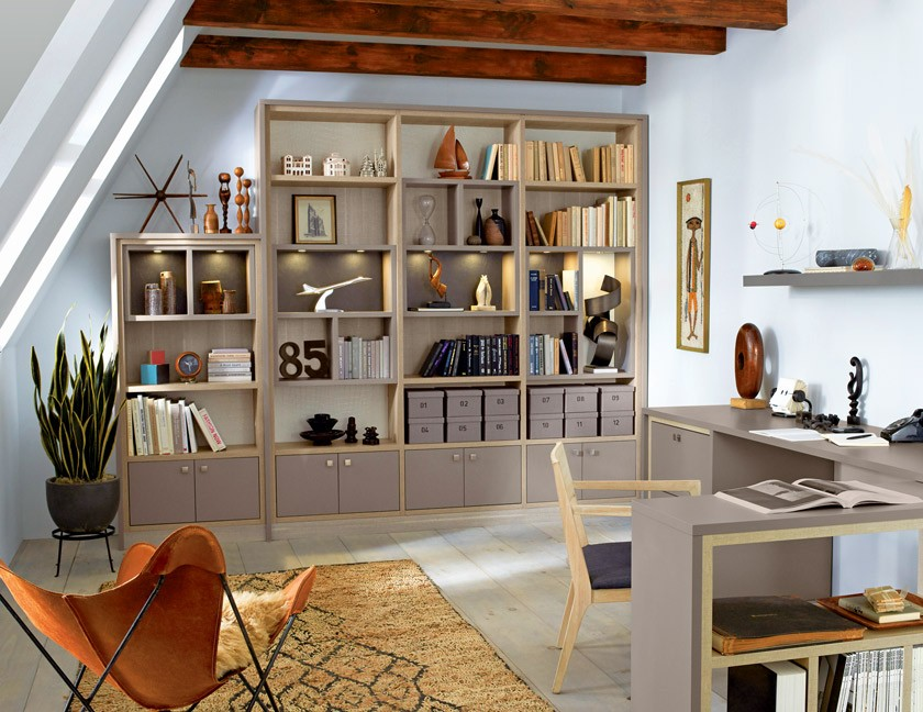 MCM office with bookshelves