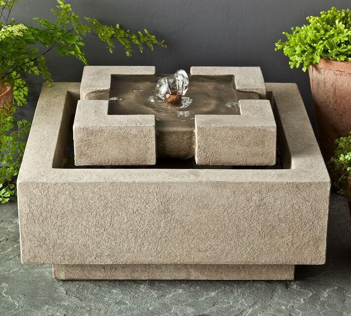 Square cast-stone garden fountain in sand color