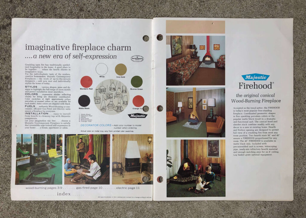 Old catalogue featuring vintage Majestic fireplaces