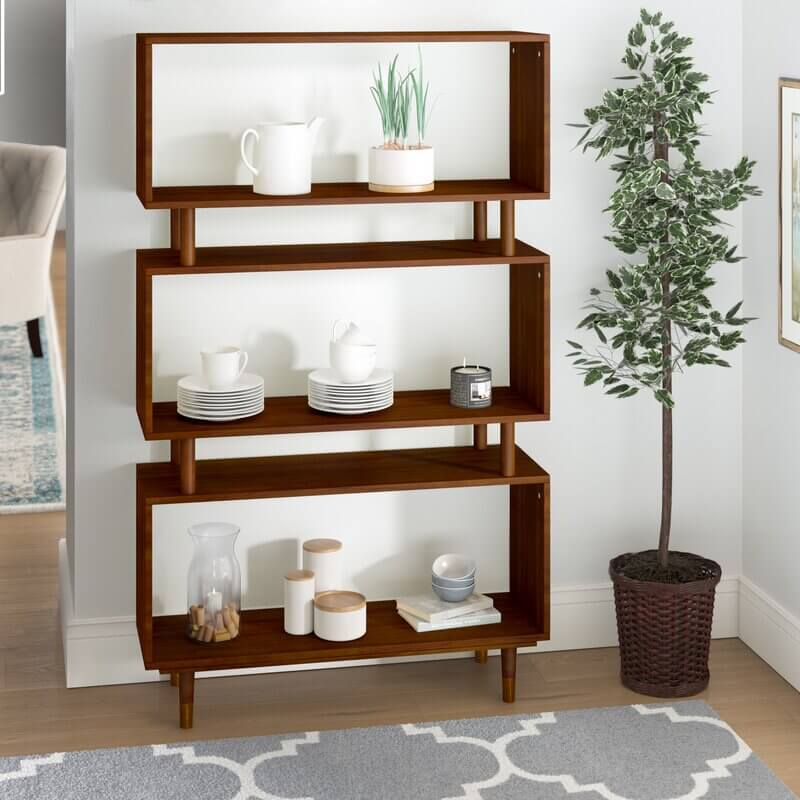 MCM storage solutions bookshelf with three wooden rectangles