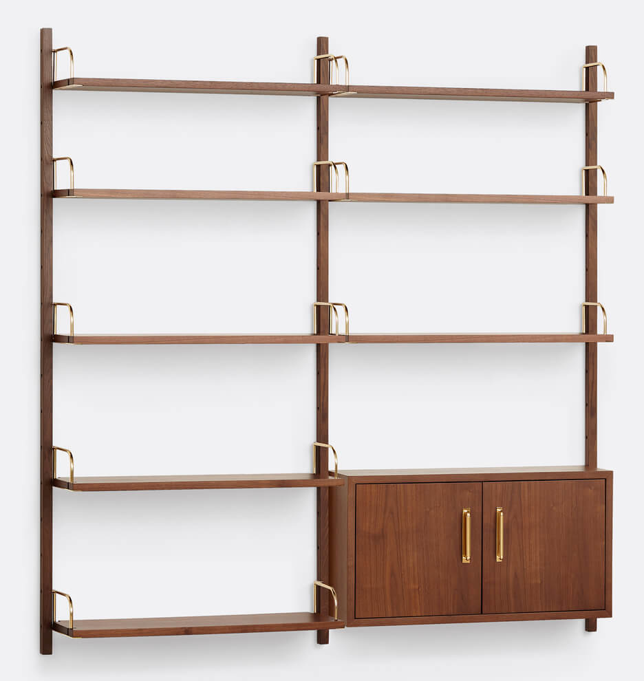 MCM shelving unit with brass sides and a small cabinet