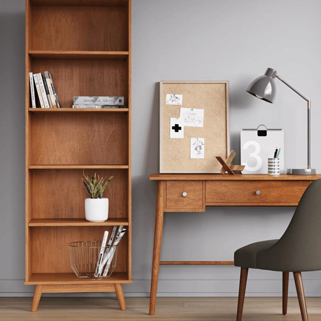 Minimalist tall and slim MCM bookcase