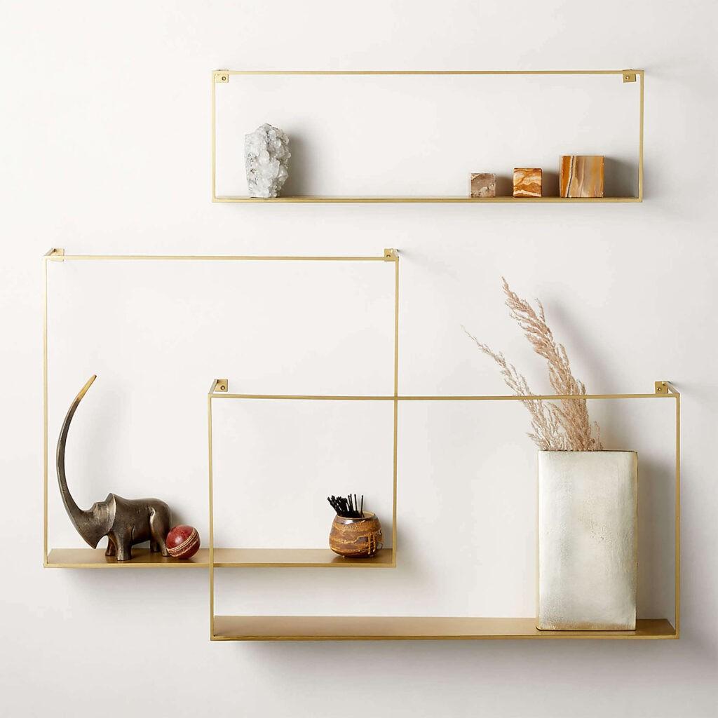 Antique brass minimalist shelves