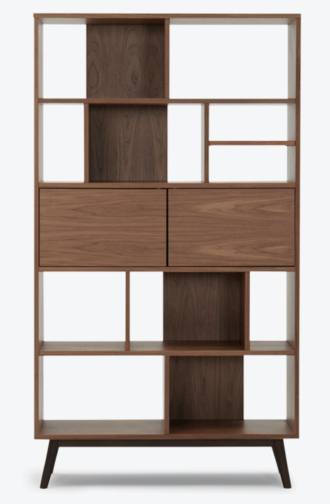 Walnut bookcase with various sized cubby holes and two cabinet doors