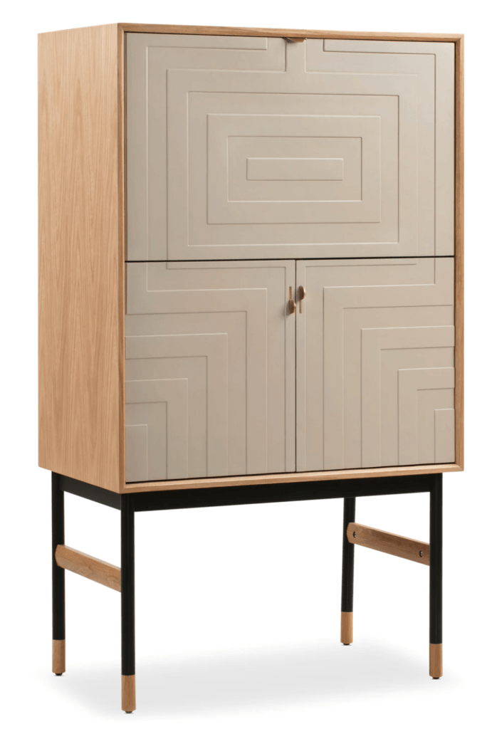 MCM bar cart with white pattern door fronts