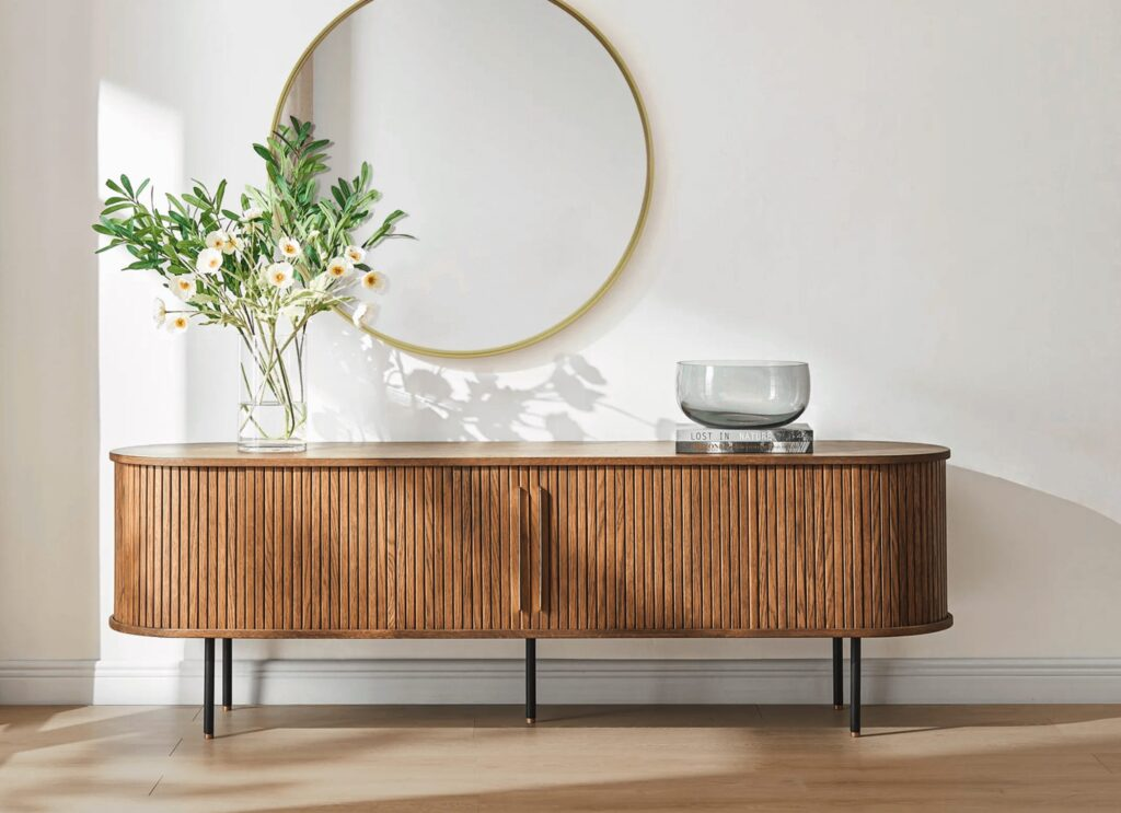 Long credenza with wood slats and a tambour door