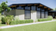 Rendering of a Midcentury Custom Homes project that shows a new mid century-style exterior