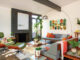 MCM living room with colorful throw