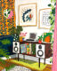 Painting of w white hi-fi stereo credenza with a record player, plants and records with art hanging on walls and orange wallpaper.
