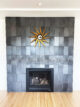 metallic tile fireplace surround